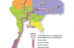 Kort over lyntoget i Thailand